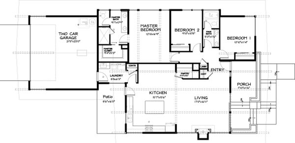Modern Style House Plan - 3 Beds 2 Baths 1695 Sq/Ft Plan #895-23 Floor Plan - Main Floor Plan