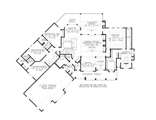 House Plan Design - Craftsman Floor Plan - Main Floor Plan #54-381