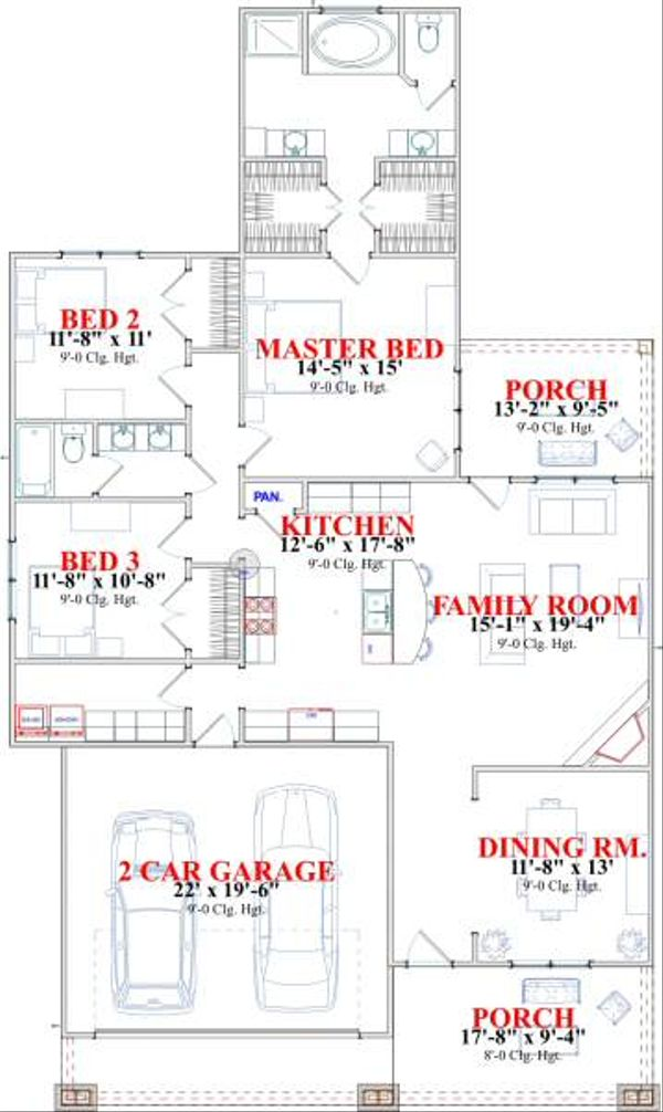 Craftsman Floor Plan - Main Floor Plan Plan #63-139