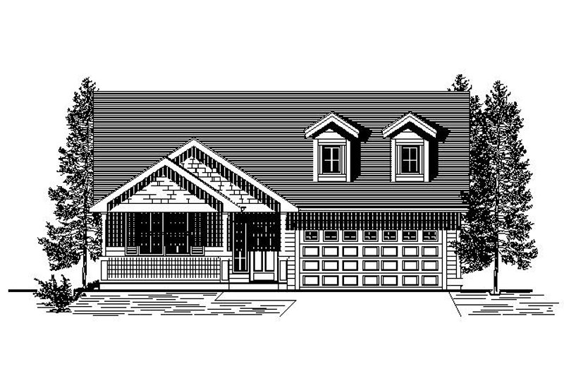 Bungalow Style House Plan - 3 Beds 2 Baths 1544 Sq/Ft Plan #53-420 Exterior - Front Elevation