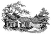 Traditional Style House Plan - 3 Beds 2 Baths 1388 Sq/Ft Plan #41-108 Exterior - Front Elevation
