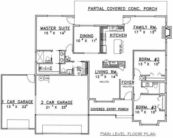 Ranch Floor Plan - Main Floor Plan Plan #117-463