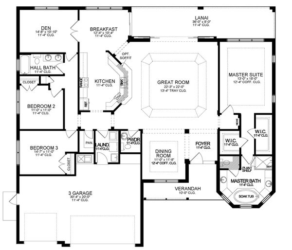 House Blueprint - Ranch Floor Plan - Main Floor Plan #1058-196