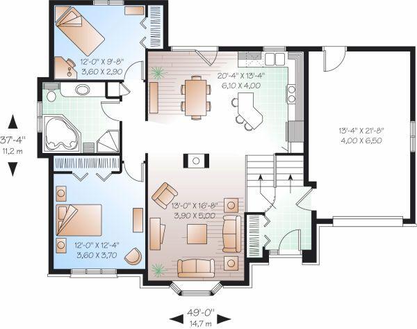 European Floor Plan - Main Floor Plan Plan #23-805