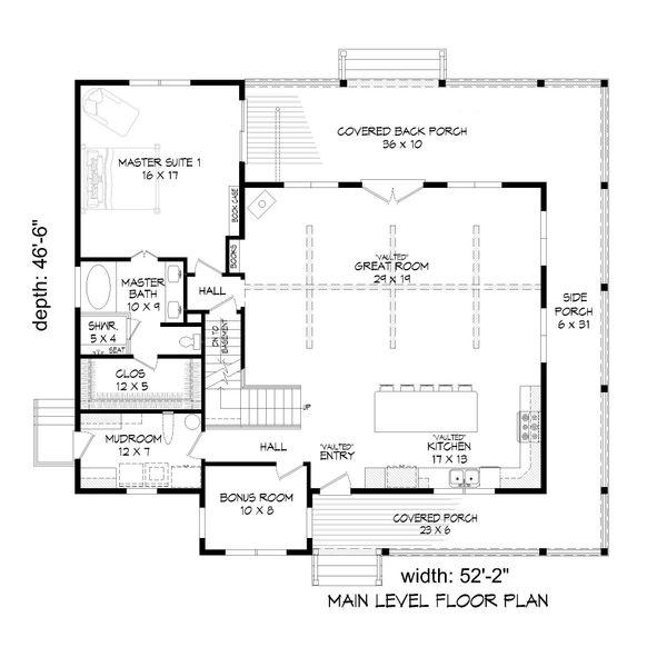 Farmhouse Floor Plan - Main Floor Plan Plan #932-34