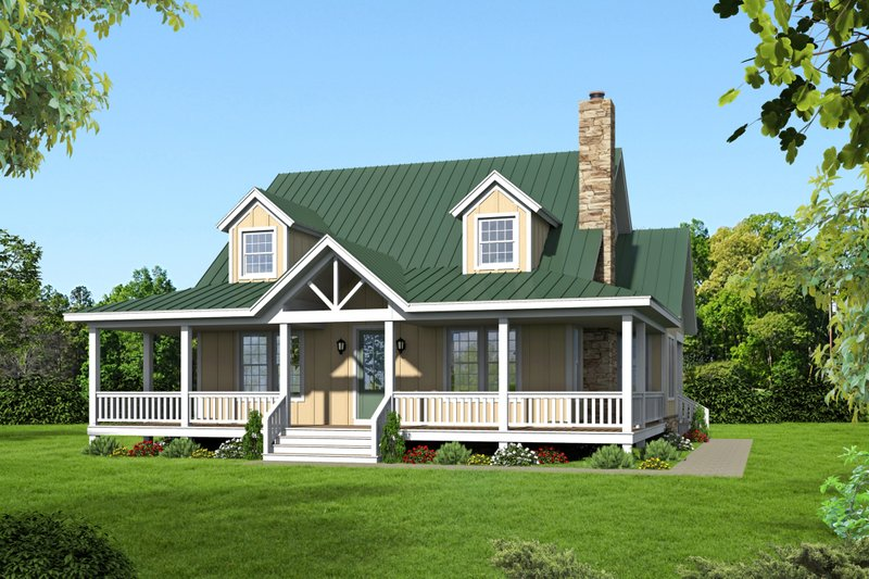Country Exterior - Front Elevation Plan #932-13
