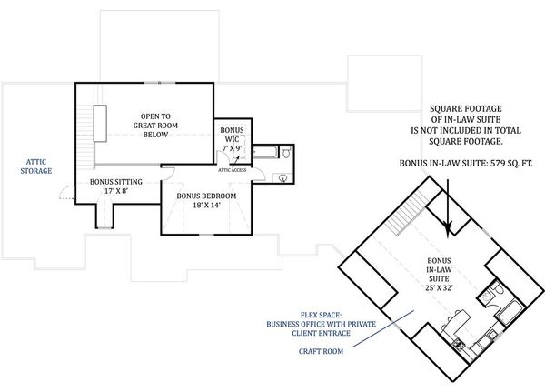 Craftsman Floor Plan - Upper Floor Plan Plan #119-367