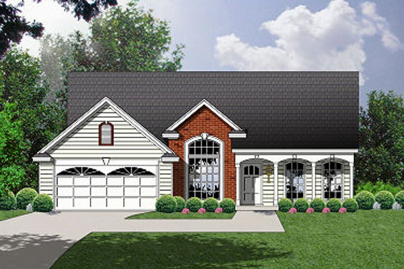 Country Exterior - Front Elevation Plan #40-375