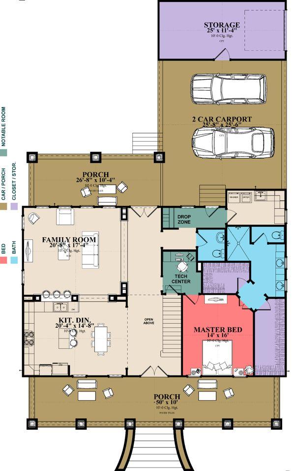 Southern Floor Plan - Main Floor Plan Plan #63-391