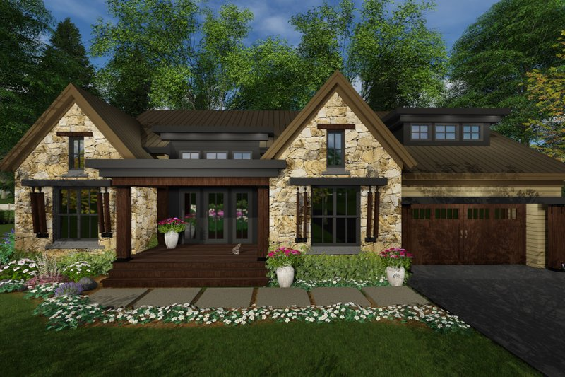 Contemporary Style House Plan - 3 Beds 2.5 Baths 2358 Sq/Ft Plan #51-585 Exterior - Front Elevation