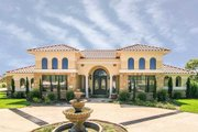 Mediterranean Style House Plan - 4 Beds 3 Baths 3036 Sq/Ft Plan #80-222 Exterior - Front Elevation