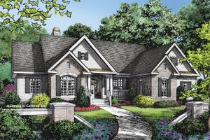 European Exterior - Front Elevation Plan #929-1021