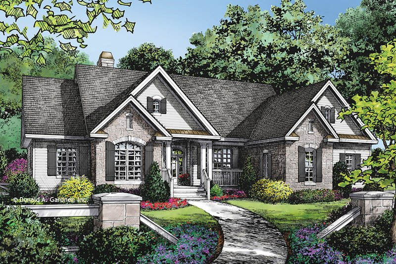 Dream House Plan - European Exterior - Front Elevation Plan #929-1021
