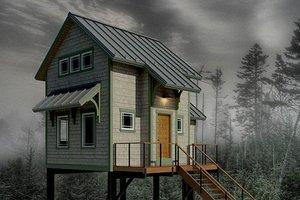 Cabin Exterior - Front Elevation Plan #556-2