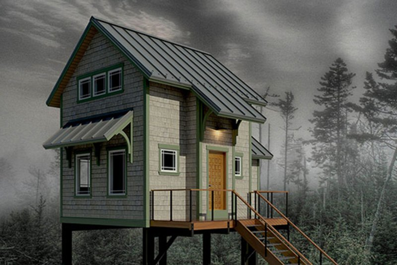Cabin Style House Plan - 1 Beds 1 Baths 606 Sq/Ft Plan #556-2
