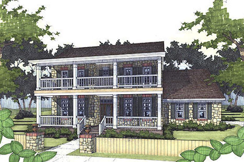 Southern Exterior - Front Elevation Plan #120-157