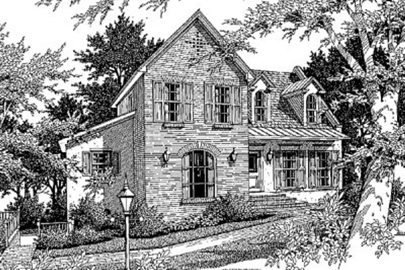 European Exterior - Front Elevation Plan #41-130