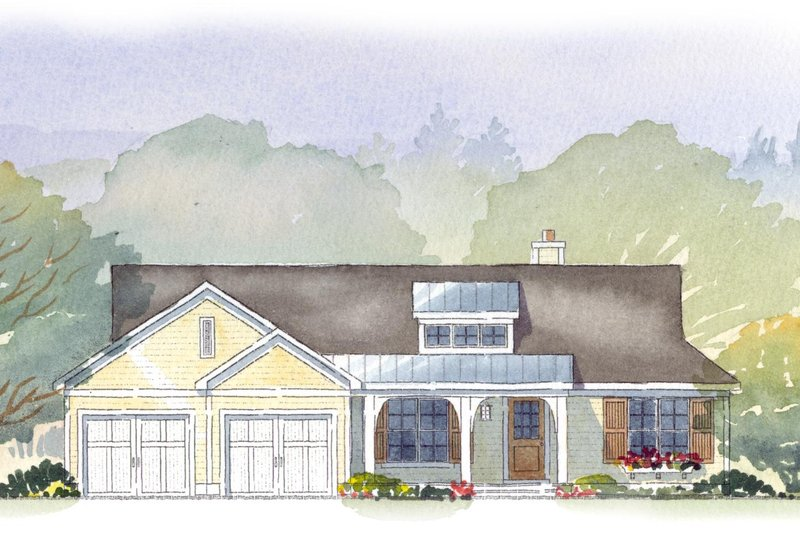 Ranch Style House Plan - 4 Beds 3 Baths 2452 Sq/Ft Plan #901-57 Exterior - Front Elevation