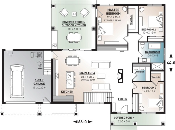 Ranch Style House Plan - 3 Beds 1 Baths 1604 Sq/Ft Plan #23-2649 Floor Plan - Main Floor Plan