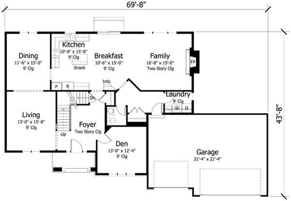 Traditional Floor Plan - Main Floor Plan Plan #51-395