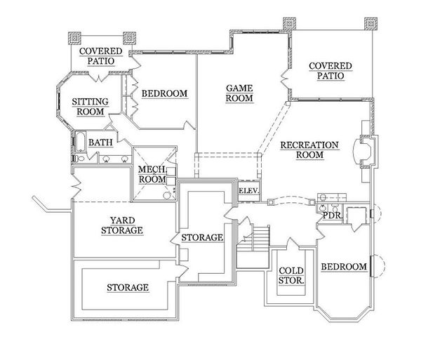 European Floor Plan - Lower Floor Plan Plan #5-418
