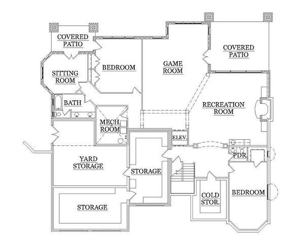 House Plan Design - European Floor Plan - Lower Floor Plan #5-418