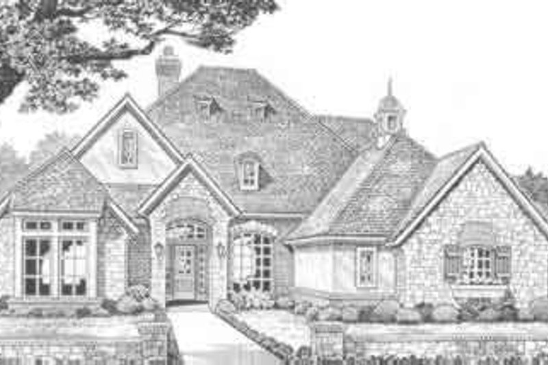 European Style House Plan - 4 Beds 3 Baths 2598 Sq/Ft Plan #310-376 Exterior - Front Elevation