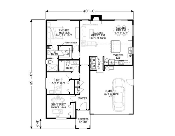 Craftsman Floor Plan - Main Floor Plan Plan #53-603