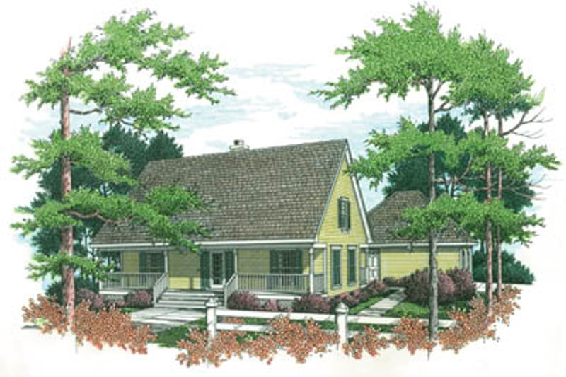 Traditional Style House Plan - 3 Beds 2 Baths 1485 Sq/Ft Plan #45-111 Exterior - Front Elevation