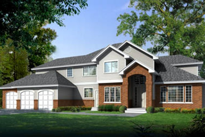 Traditional Style House Plan - 4 Beds 2.5 Baths 3346 Sq/Ft Plan #100-220 Exterior - Front Elevation