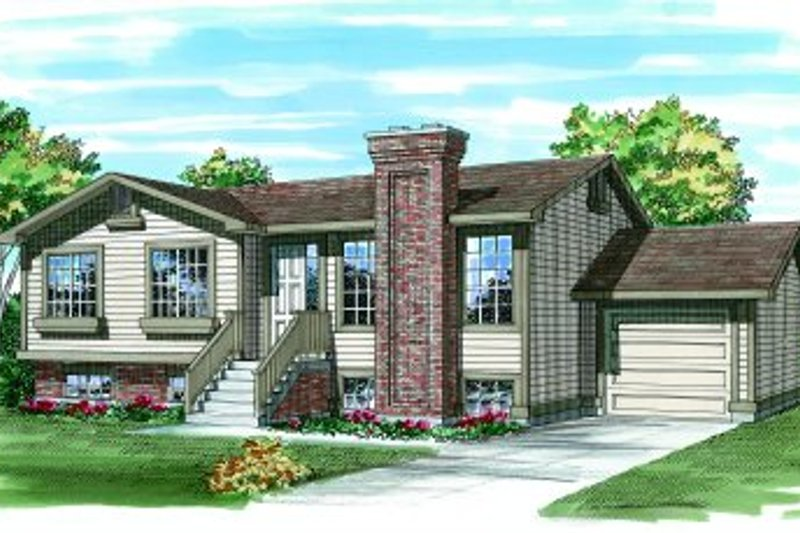 Traditional Style House Plan - 3 Beds 1 Baths 1040 Sq/Ft Plan #47-227 Exterior - Front Elevation