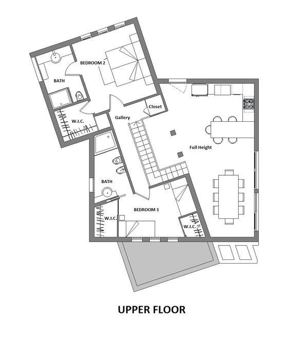 Modern Floor Plan - Upper Floor Plan Plan #542-3