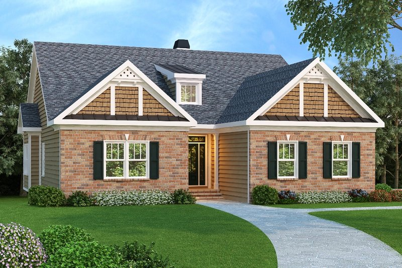 Craftsman Style House Plan - 3 Beds 2 Baths 1861 Sq/Ft Plan #419-106 Exterior - Front Elevation