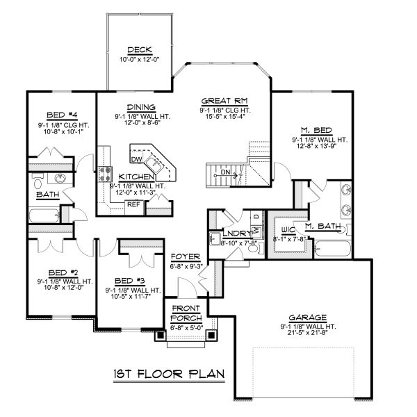 Ranch Floor Plan - Main Floor Plan Plan #1064-42