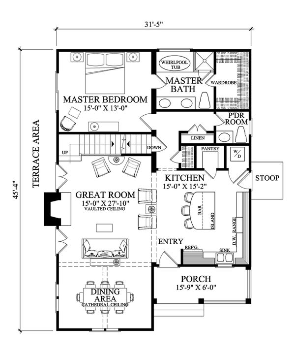 Home Plan Design - Cottage Floor Plan - Main Floor Plan #137-272