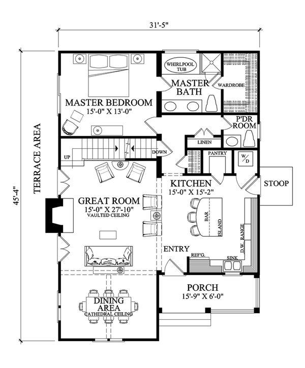 Cottage Floor Plan - Main Floor Plan Plan #137-272