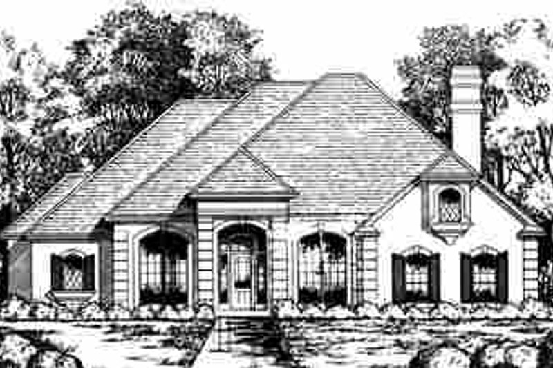 European Exterior - Front Elevation Plan #40-177