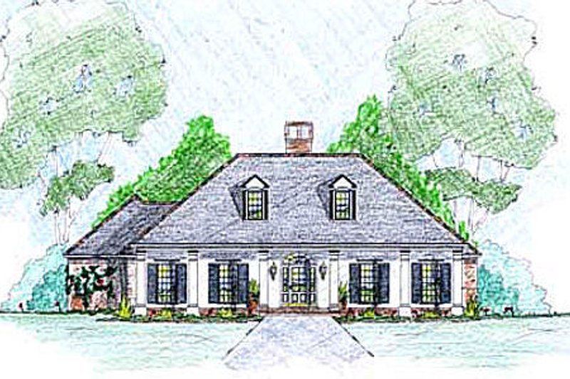 House Design - Southern Exterior - Front Elevation Plan #36-489