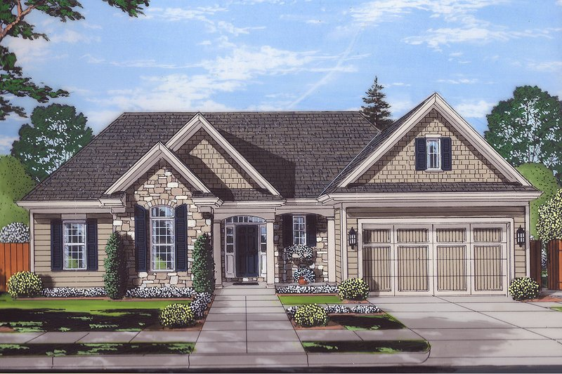 Ranch Style House Plan - 3 Beds 2.5 Baths 1867 Sq/Ft Plan #46-872 Exterior - Front Elevation