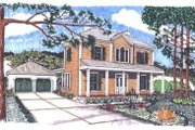 Colonial Style House Plan - 3 Beds 2 Baths 2148 Sq/Ft Plan #76-108 Exterior - Front Elevation