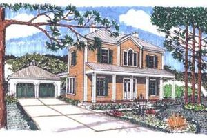 Colonial Exterior - Front Elevation Plan #76-108