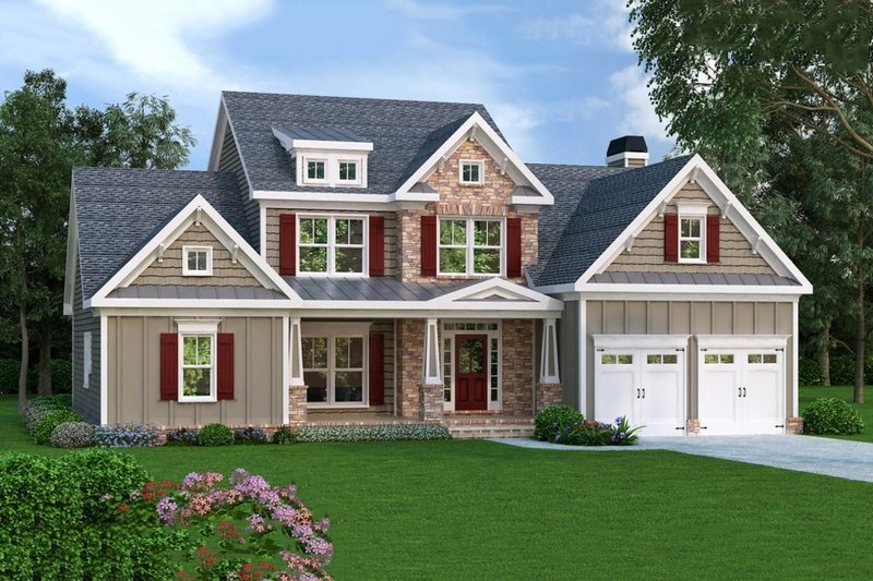 Dream House Plan - Craftsman Exterior - Front Elevation Plan #419-188