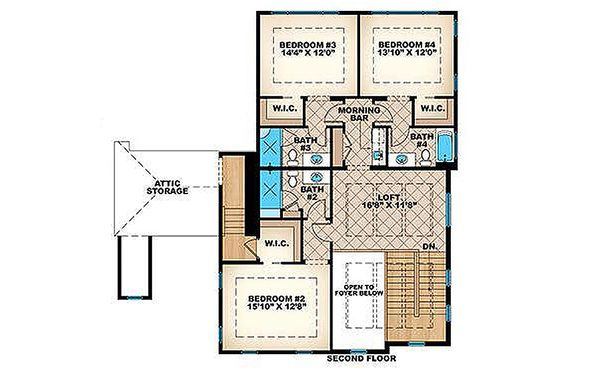Colonial Floor Plan - Upper Floor Plan Plan #27-459