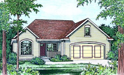 European Style House Plan - 3 Beds 2 Baths 1335 Sq/Ft Plan #20-157 Exterior - Front Elevation