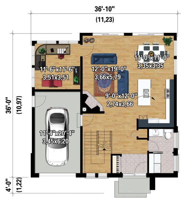 Contemporary Floor Plan - Main Floor Plan Plan #25-4528