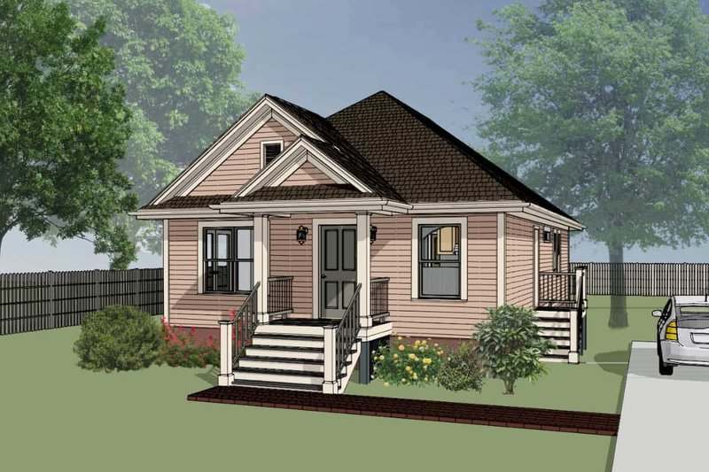 Cottage Style House Plan - 3 Beds 2 Baths 1092 Sq/Ft Plan #79-114 Exterior - Front Elevation