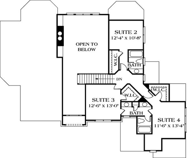 Traditional Floor Plan - Upper Floor Plan Plan #453-32