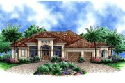 European Style House Plan - 4 Beds 3.5 Baths 4824 Sq/Ft Plan #27-568 Exterior - Front Elevation