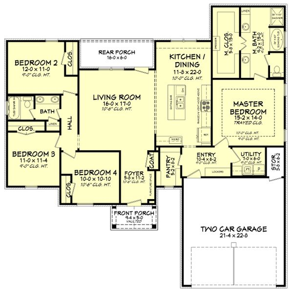 Southern Floor Plan - Main Floor Plan Plan #430-183