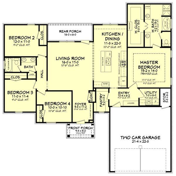 Architectural House Design - Southern Floor Plan - Main Floor Plan #430-183
